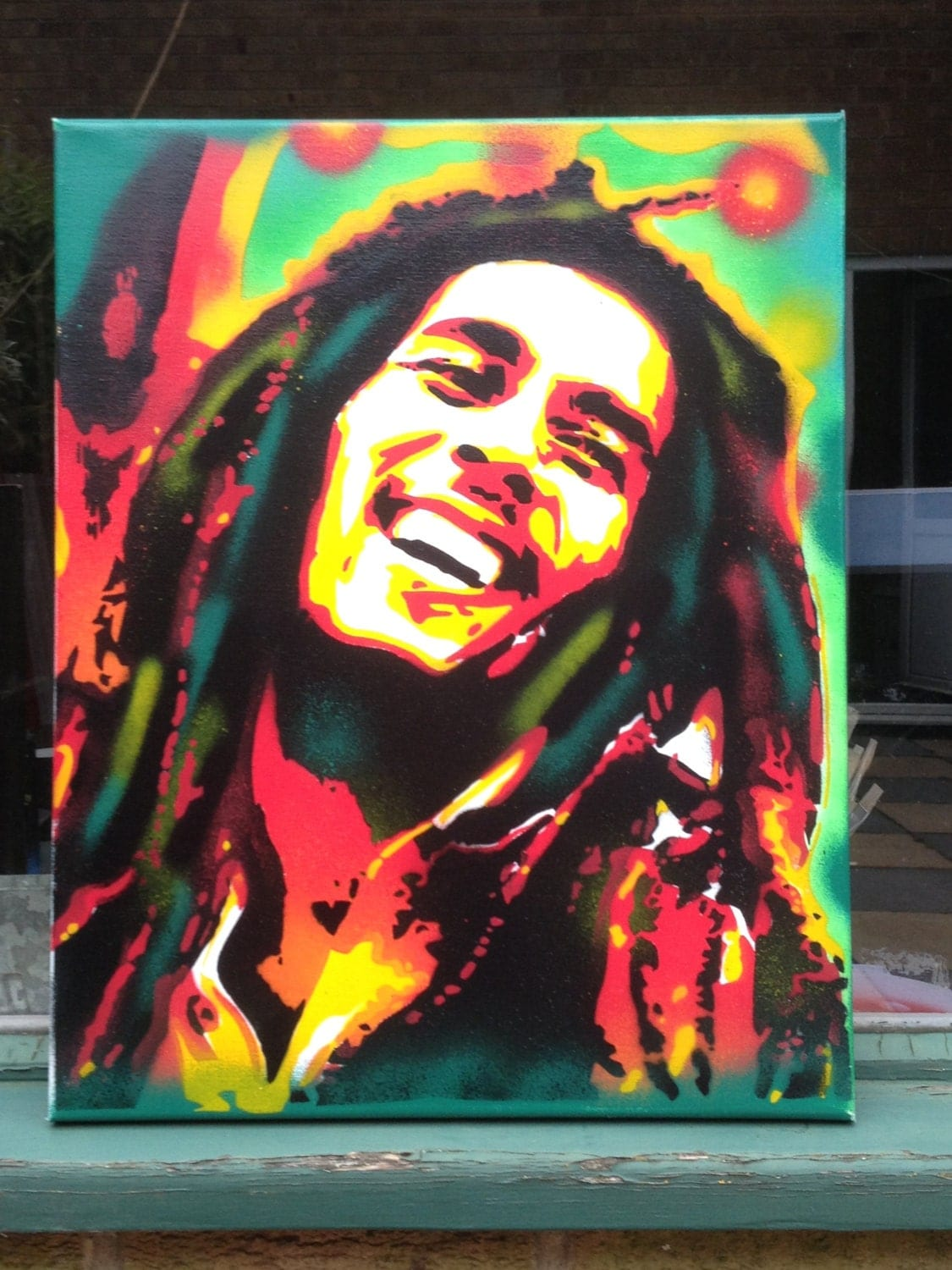 Items similar to paintings of bob marley stencil for Bob marley mural