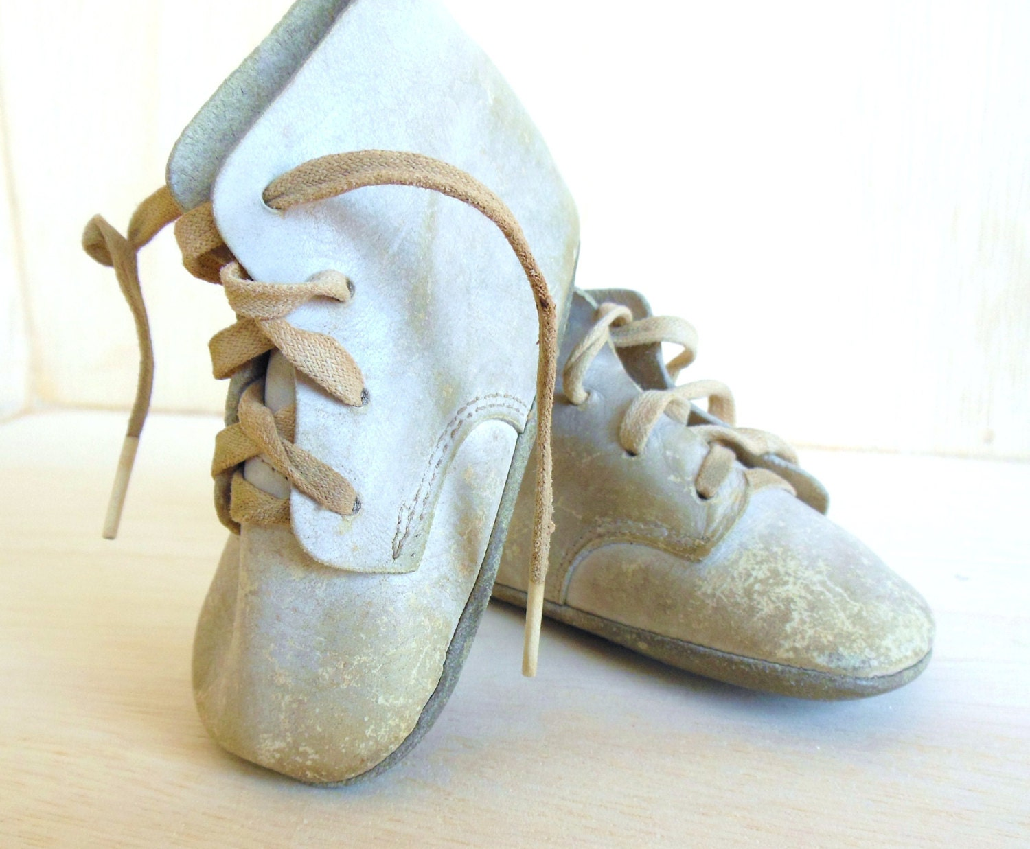 vintage leather baby shoes white shabby by