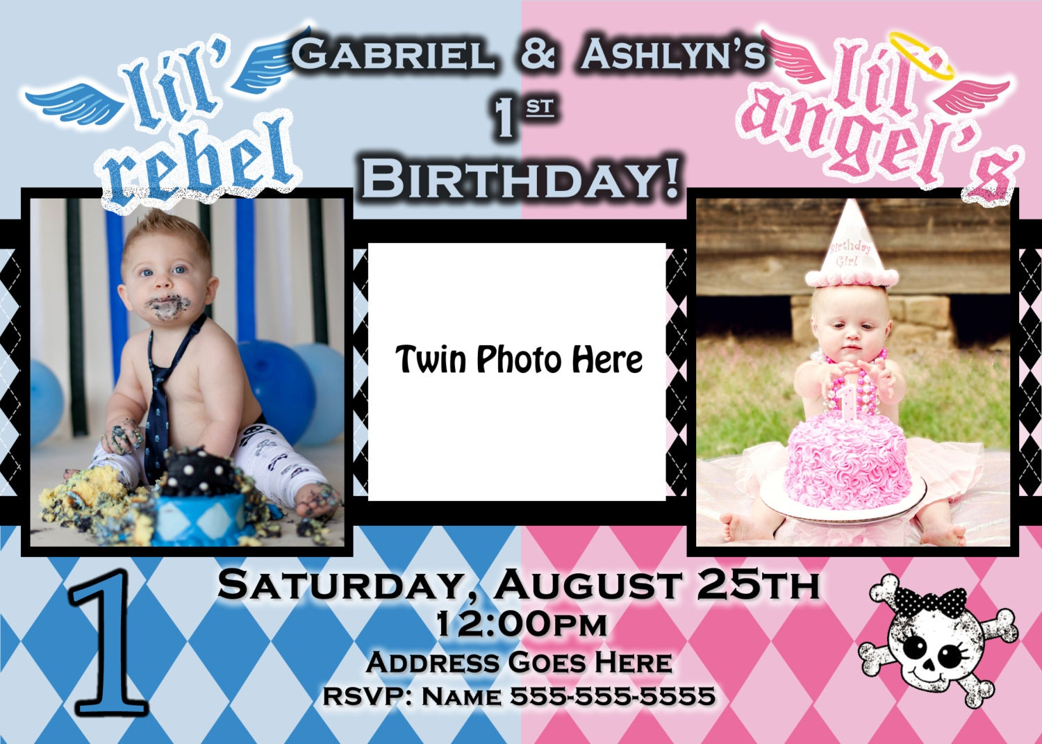 Birthday Themes Boy Girl Twins Image Inspiration of Cake and