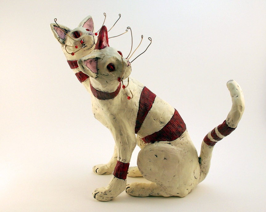 Fairy Cat Sculpture Polymer Clay Red and White - DragonStarArt