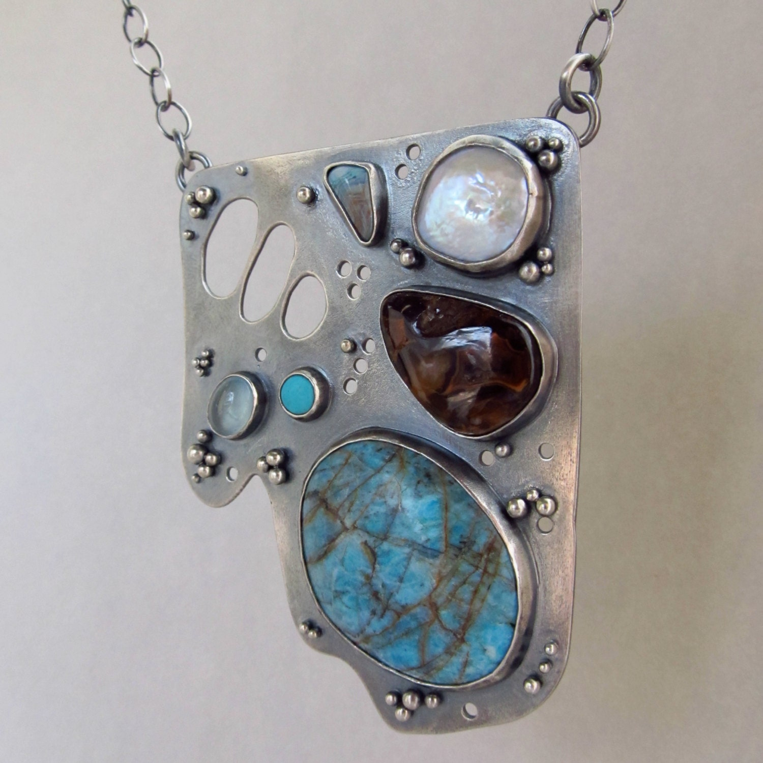 large sterling silver necklace with chrysocolla in quartz, fire agate, aquamarine, turquoise, pearl - laurenmeredith