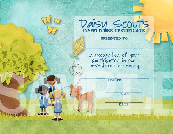 Girl Scouts Daisy Investiture Certificate by ...
