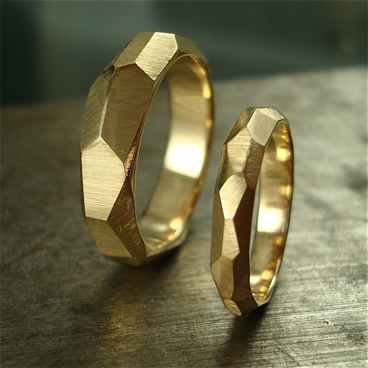 14k gold Chiseled Ring Set - Made to Order - daniellejewelry