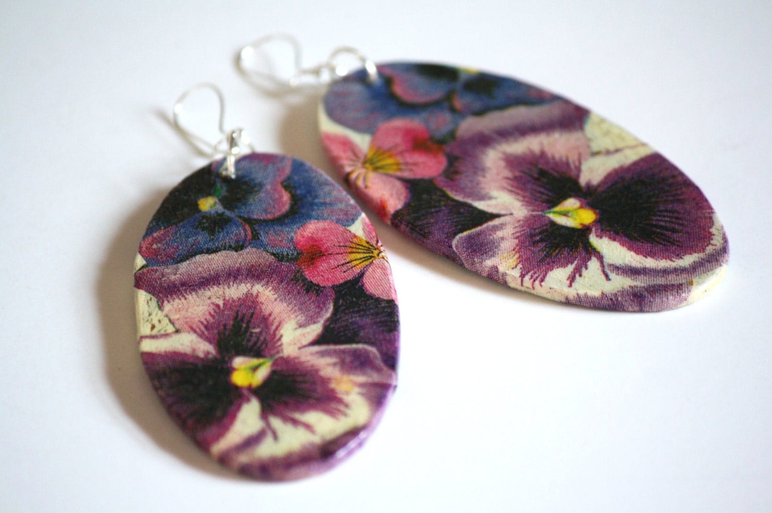 Decoupage purple pansies earrings, sterling silver, handmade, ooak, fashion, for her, gift idea, feminine, organic, original, christmas gif - CatHot