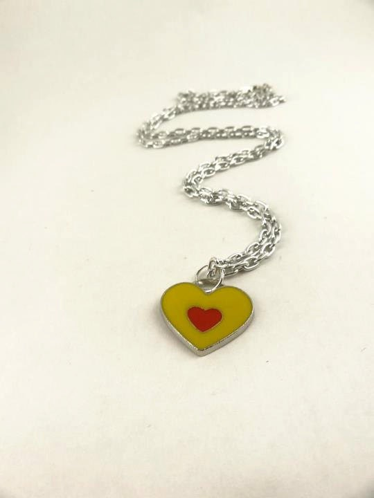 Pendant Heart Shaped , Silver Toned Chain, Necklace - toppytoppy