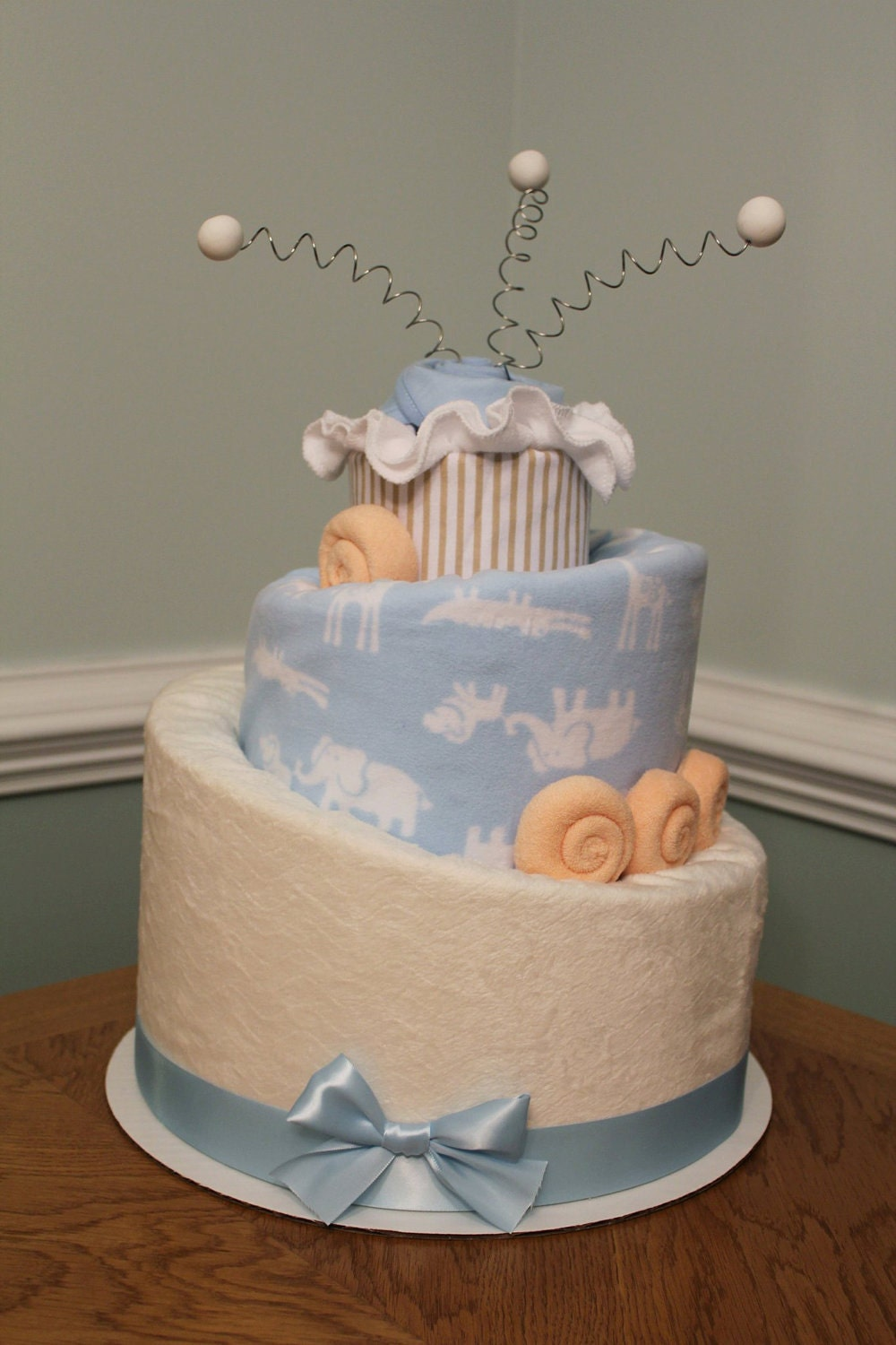 CUSTOM Baby Diaper Cake - Perfect Baby Shower Gift or Centerpiece - MTO