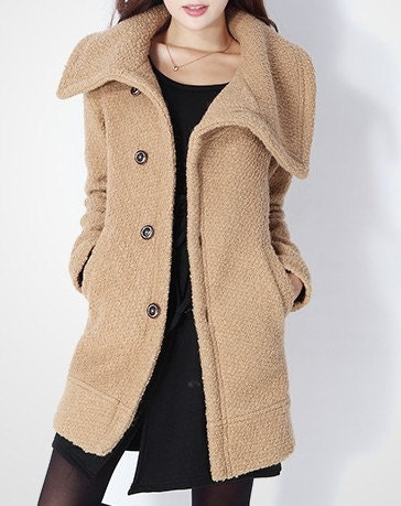 Camel / Green  wool women coat flight tweed  coat women dress coat Spring Autumn Winter --CO040