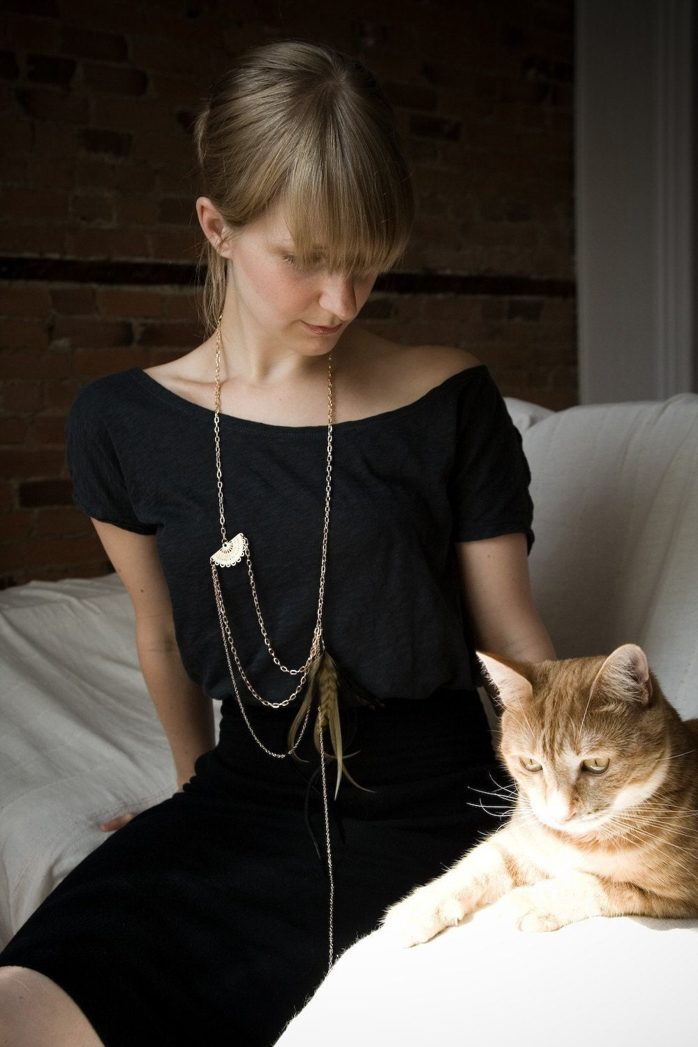 Feather necklace - Gold Neutral Feather Necklace - Neutral Feathers - Dylan Statement Necklace - noemiah