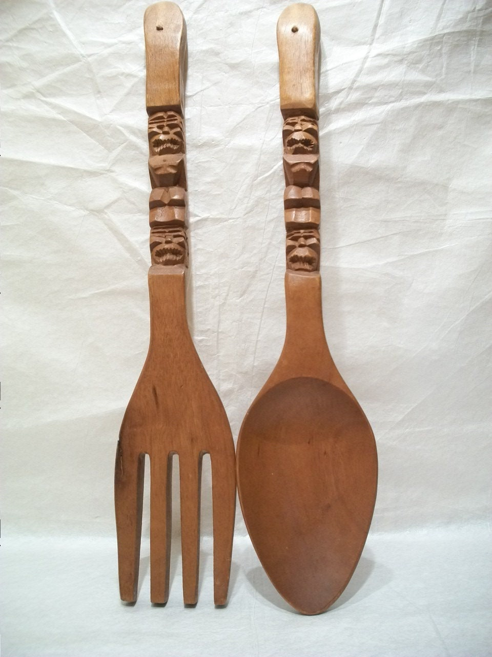 Wall Decor Wooden Fork And Spoon : Large vintage wooden fork and spoon wall decorations by