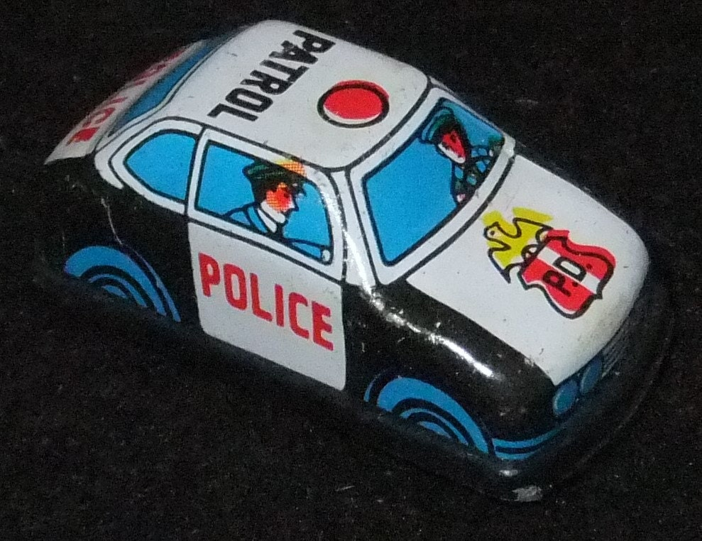 Police Car tinplate friction Super Mini Series vintage c1960s Toy made in Taiwan