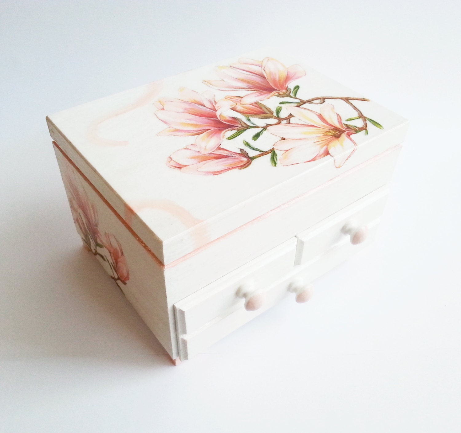 Custom order personalized jewelry box with mirror and drawers gift idea shabby chic beautiful pink gift idea for her vintage custom colors - MKedraDecoupage