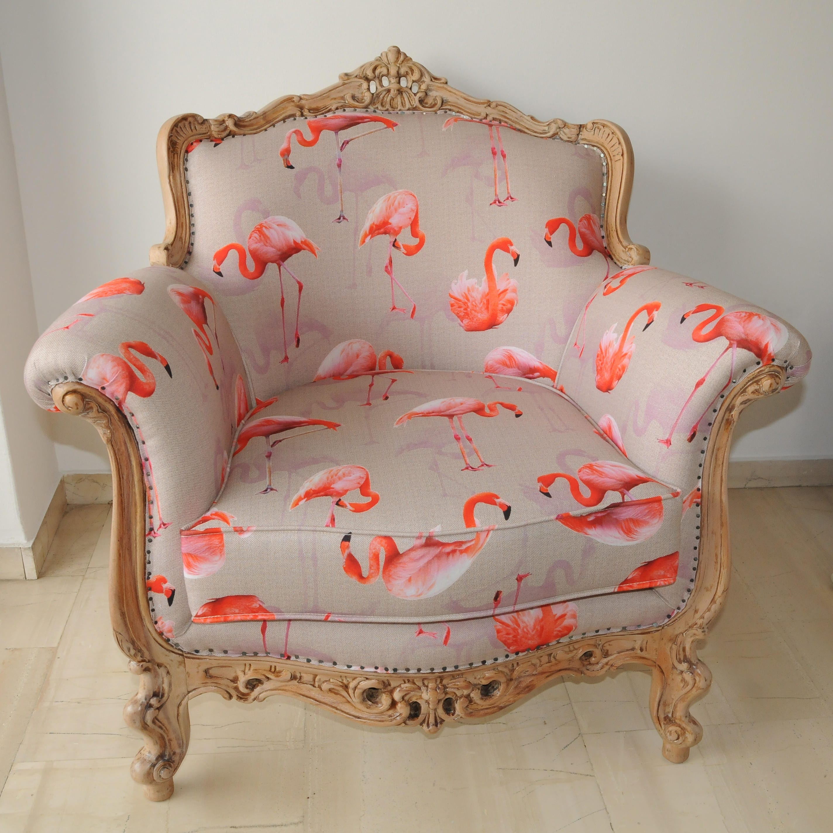 Armchair Upcycled Shabby Chic Antique Frame Fuchsia Interior Design Handcrafted Traditional Luxury Design Home Decoration