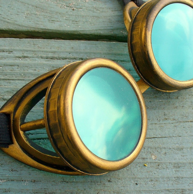 Steampunk Victorian Aviator GOGGLES glasses  Time Travel Crazy Scientist's Oculo-Vision Tool---D gold green - oldjunkyardboutique