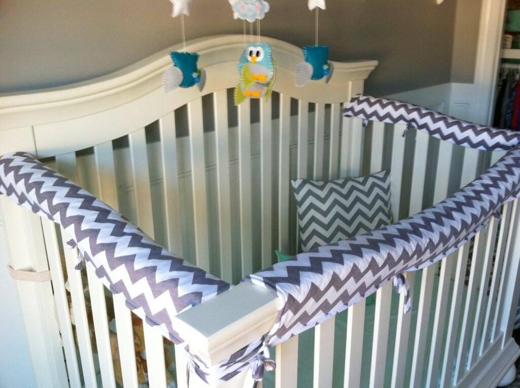 Crib guards 3pc custom crib rail teething guards by megsewcool for Galandage 3 vantaux 3 rails