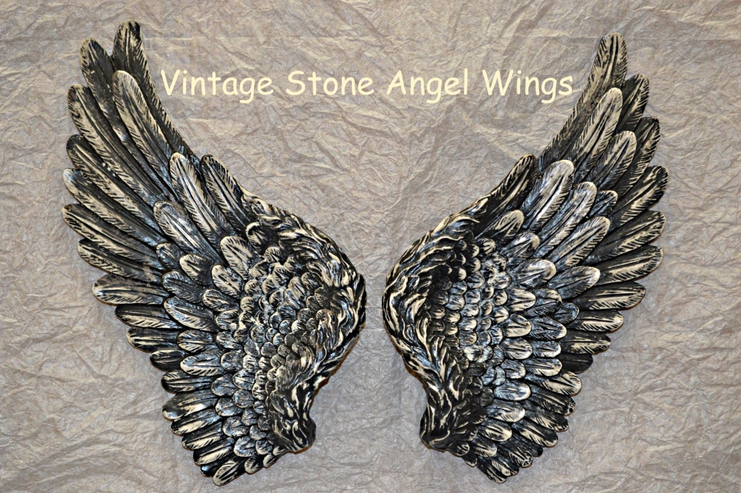 Beautiful Vintage Antique Style Shabby Chic Vintage Stone Angel Wings Wall Art Decoration