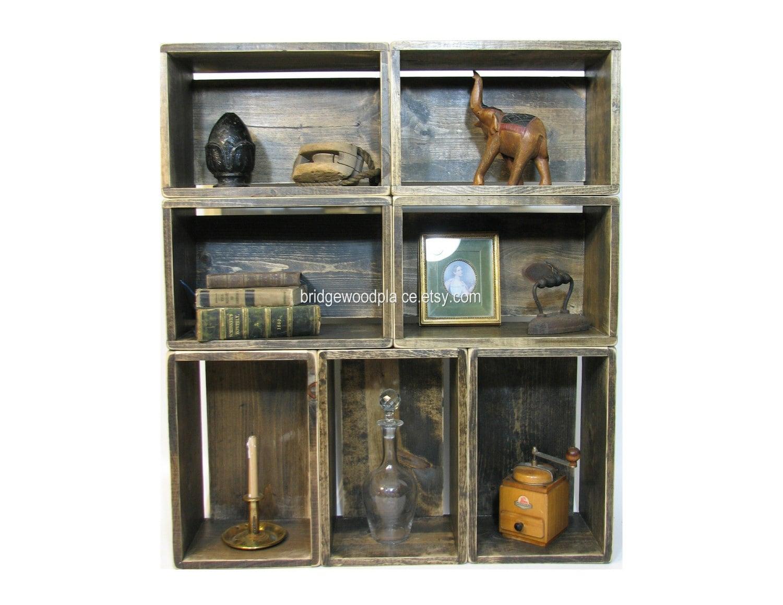 wood crate shelves wooden bookshelf wood crate by. Black Bedroom Furniture Sets. Home Design Ideas
