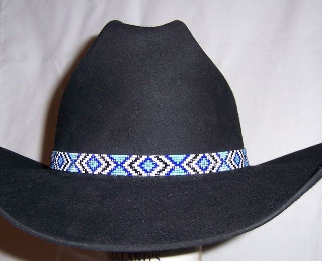 beaded hat band blue white and black for cowboy by