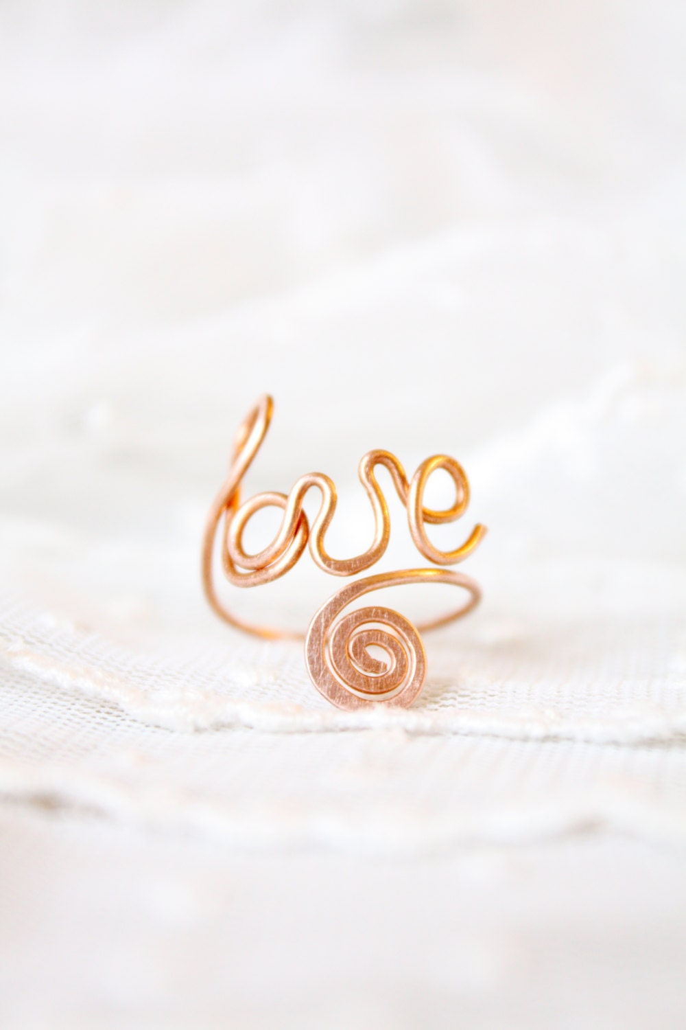 adjustable ring knuckle trendy word love copper wire - SusyDeMarchiJewelry