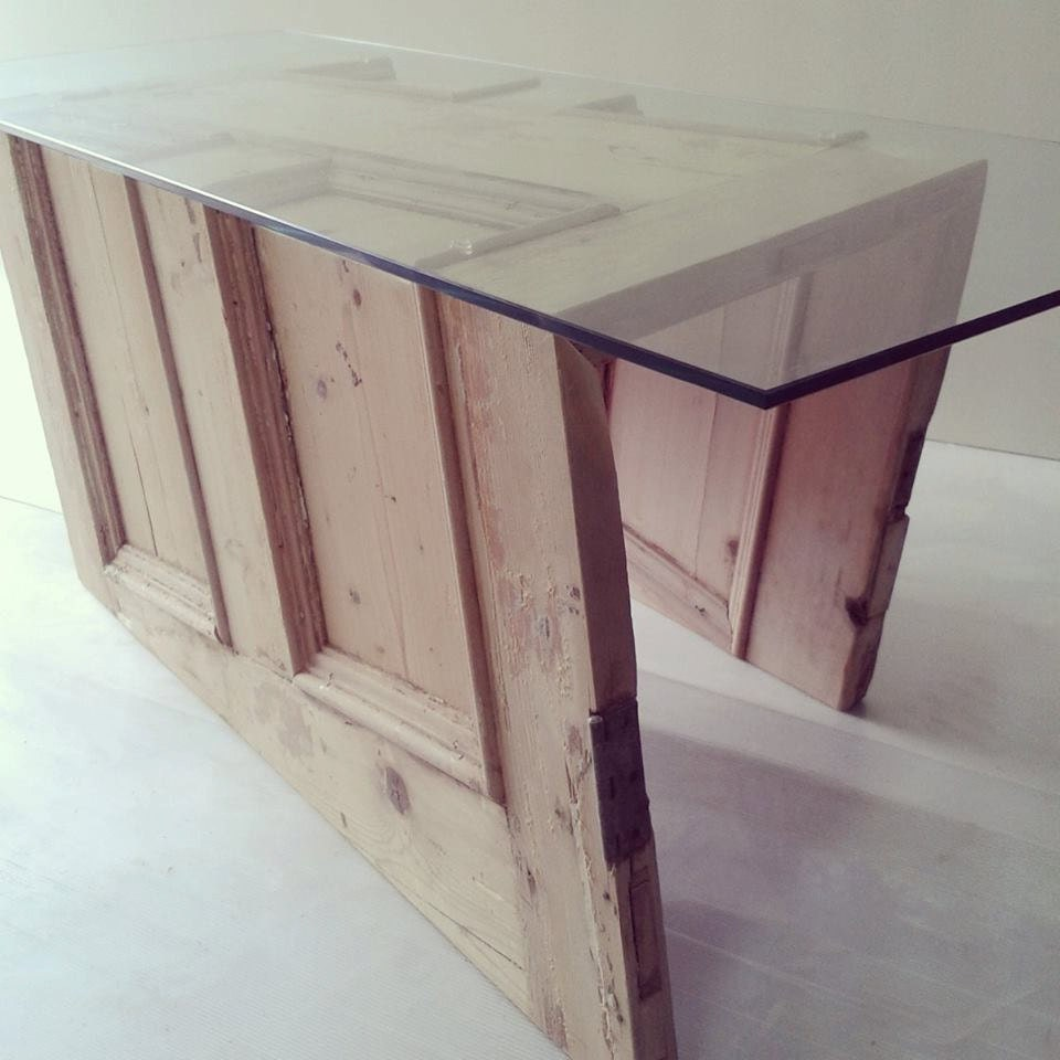 Items Similar To Upcycled Reclaimed Glass Top Coffee Table