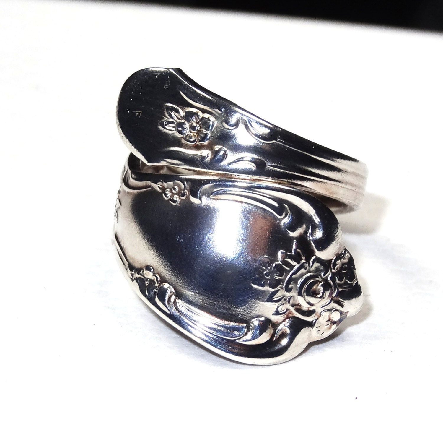 vintage spoon ring silver plate nouveau by