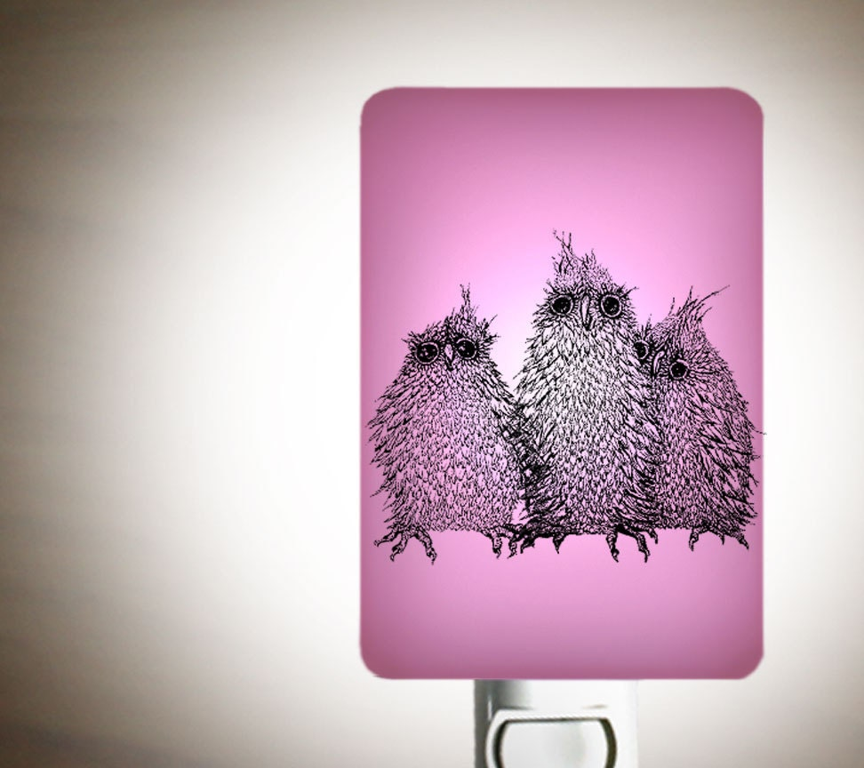 Owl Nightlight Owls On Lavender Pink Fused Glass Night By