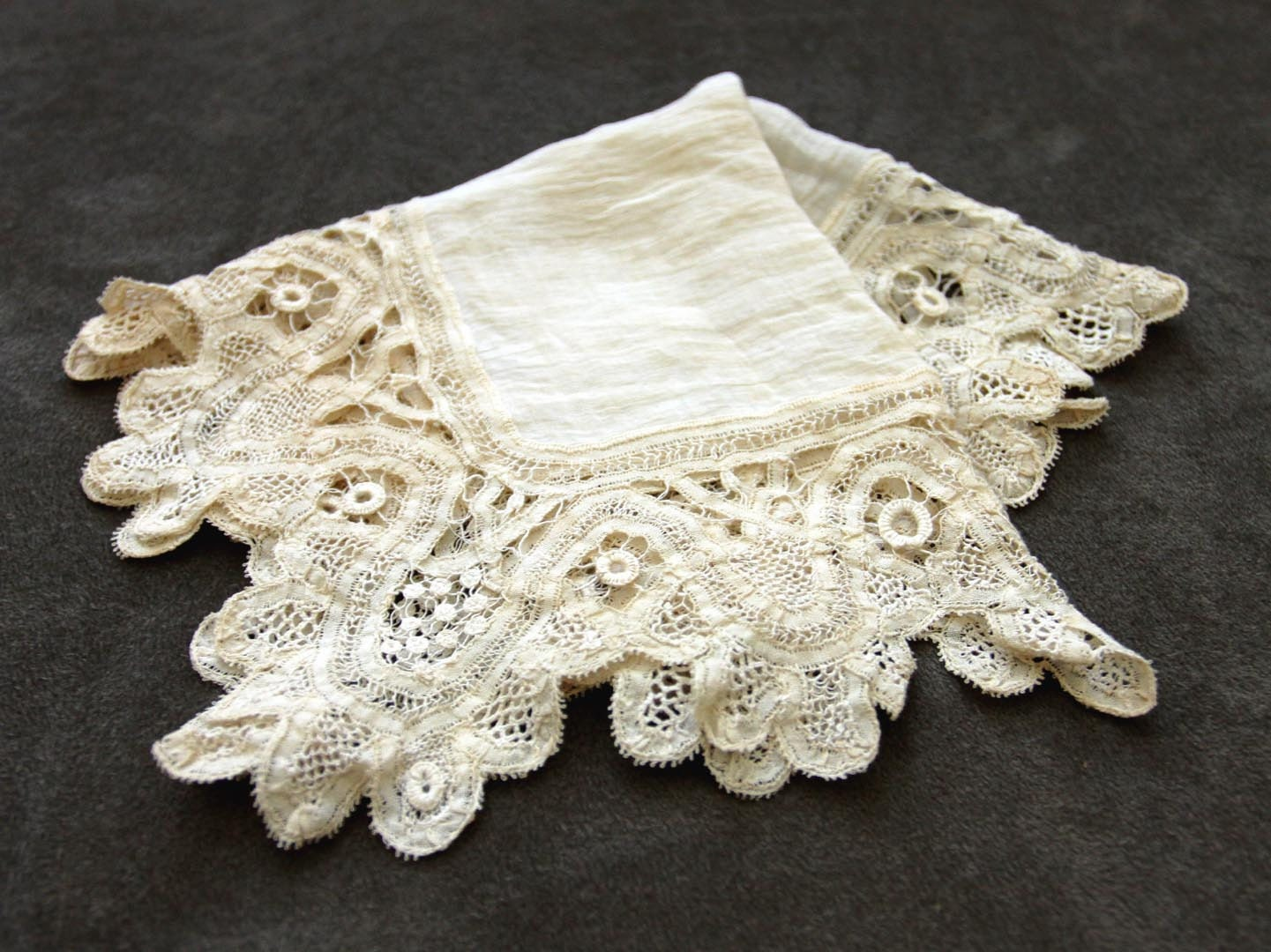 Silk and Lace Vintage Wedding Bridal Handkerchief - in Antique White / Ivory - Victorian Style - NewOrleansEclectics