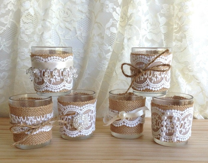 burlap and lace covered 6 votive tea candles, country chic  wedding decoration, bridal shower decor or home decor