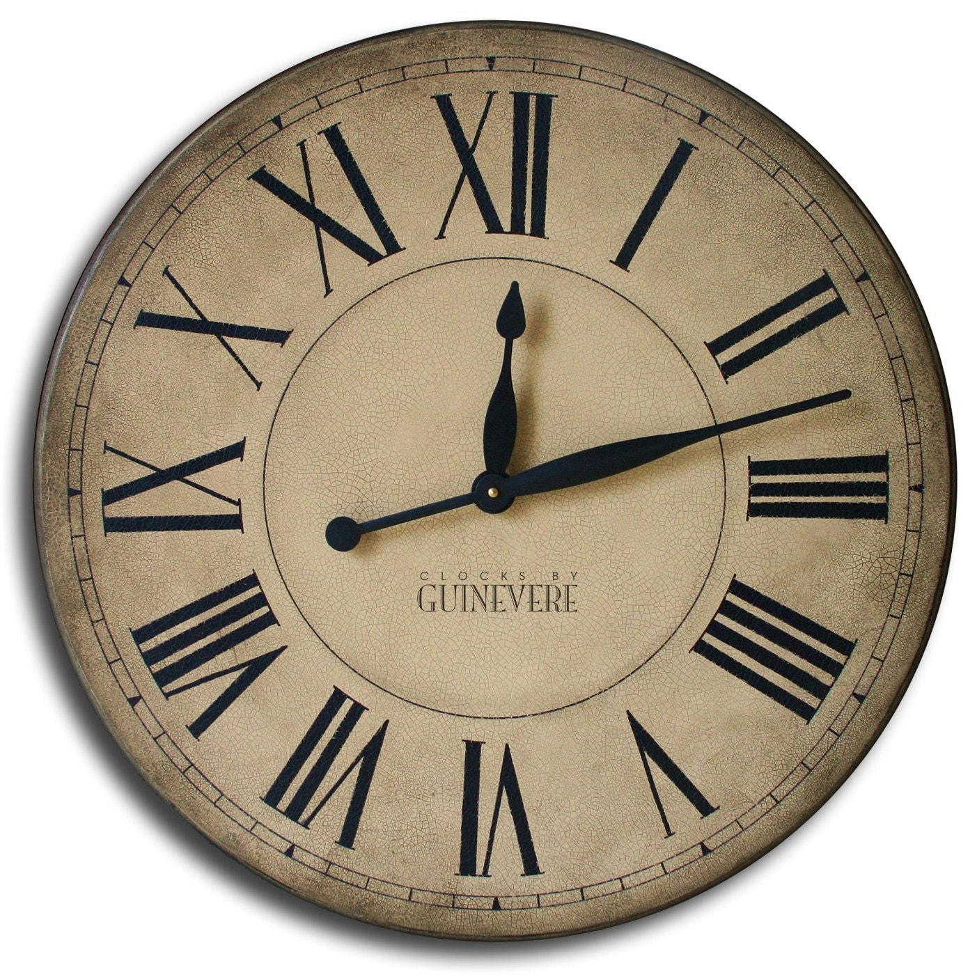 Large Wall Clock 24in CAMBRIDGE Tan Or Linen By TheClockHouse