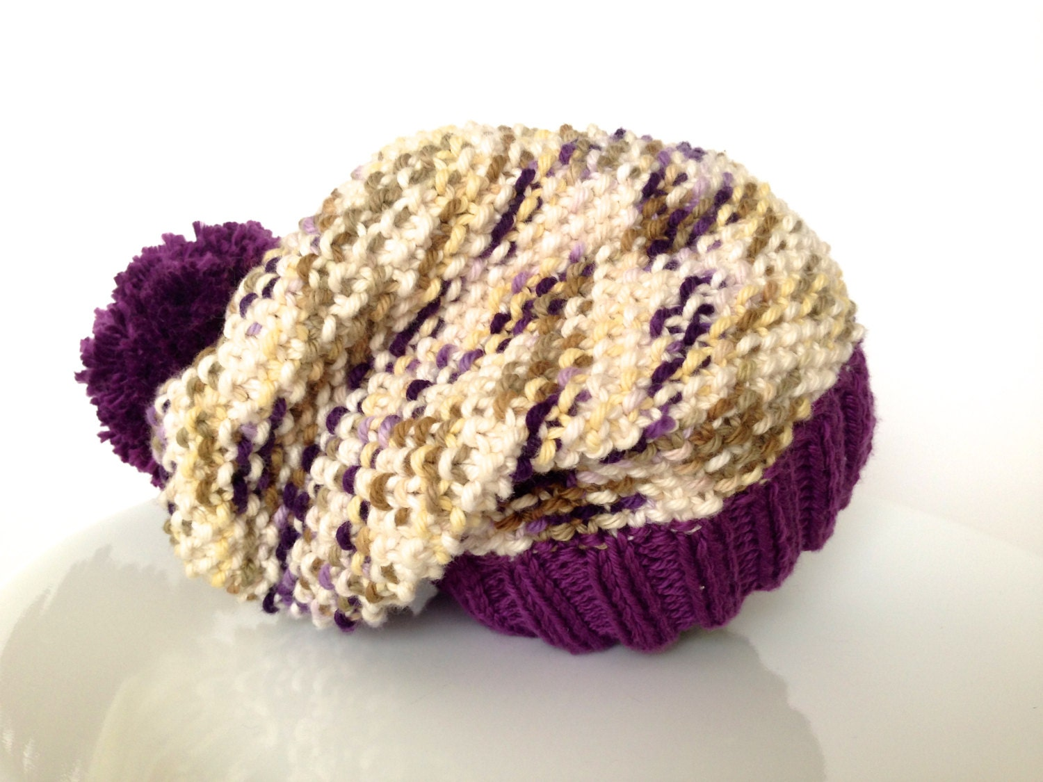 Knit baby hat, slouchy beanie, baby girl hat, cotton hat - TinyLoveGifts