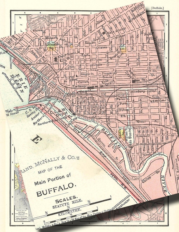 old map of Buffalo New York from 1901 showing the city streets in pastel pink digital image no. 669