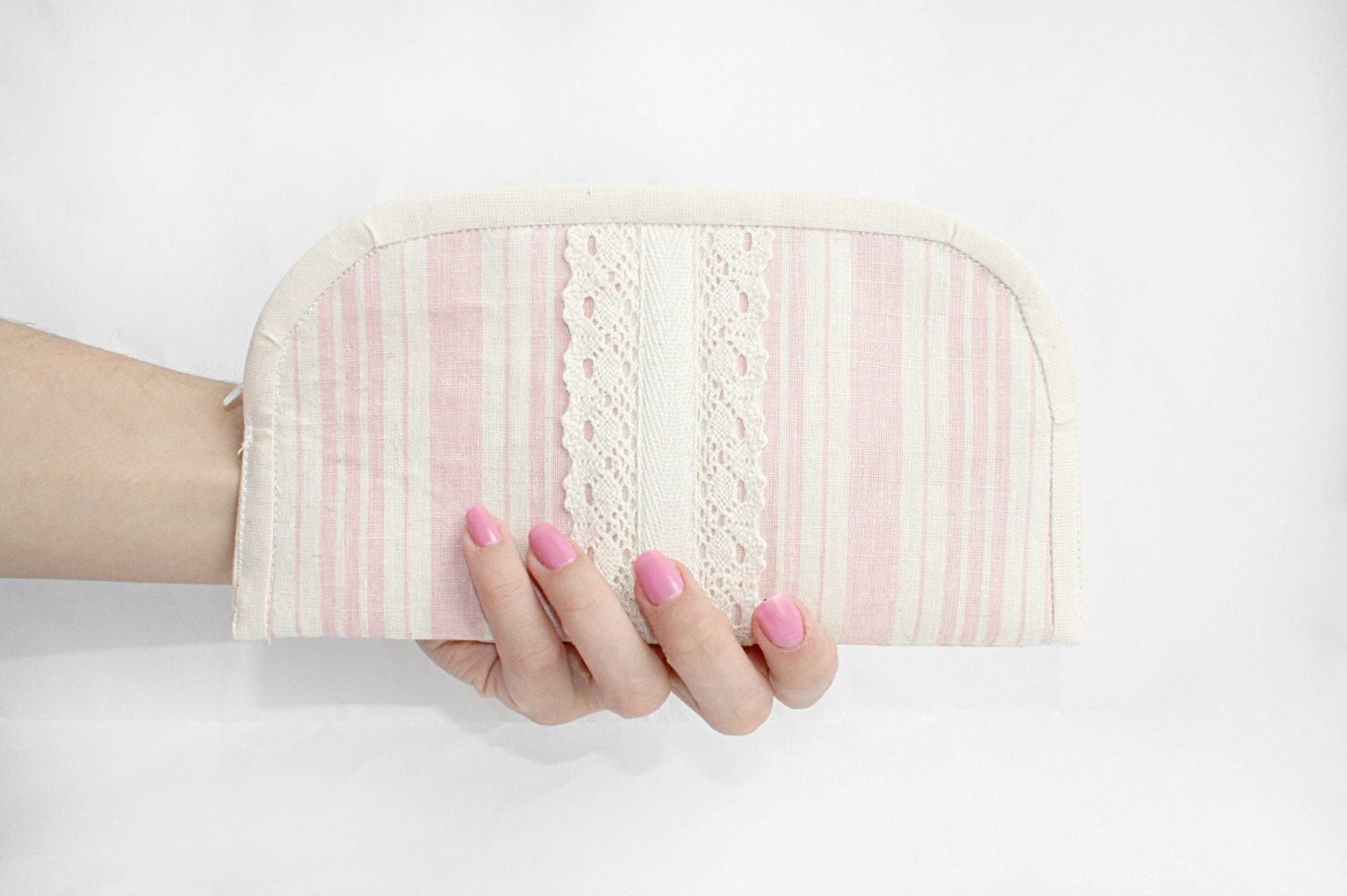 Pleated striped clutch pale pink zipper pouch cosmetic bag - FriendlyHandmade