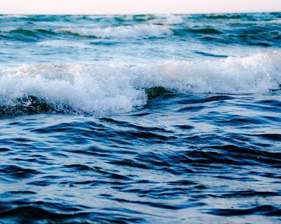 Ocean Wave Print 8x10, Navy Blue Seashore Photo, Stormy Beach Photography, Coastal Art, Summer Beach House Decor,  tbteam - PureNaturePhotos