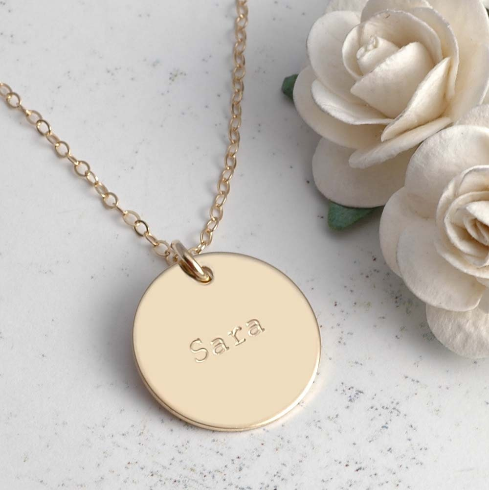 "3/4"" Gold-filled Personalized Necklace - divinestampings"