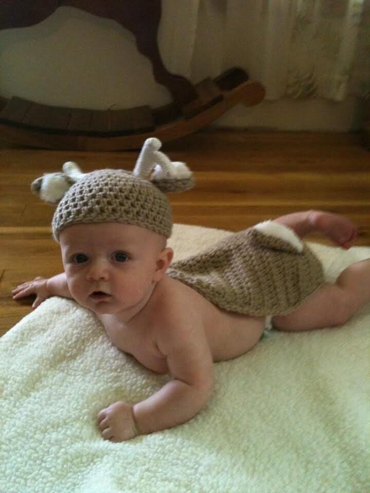 White Tail Deer Newborn Hat & Cape Set Crochet by JLACrochet