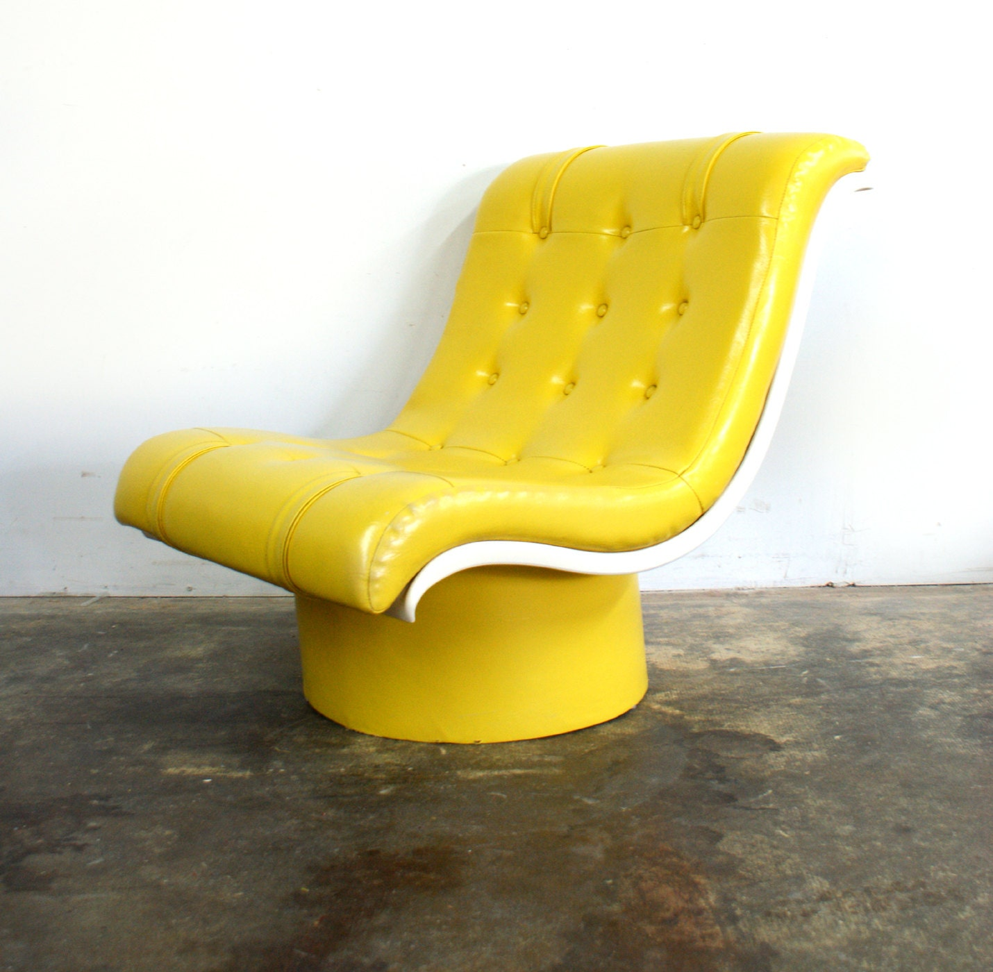 Bright Yellow Tufted Oversized Lounge Chair by TheModernHistoric