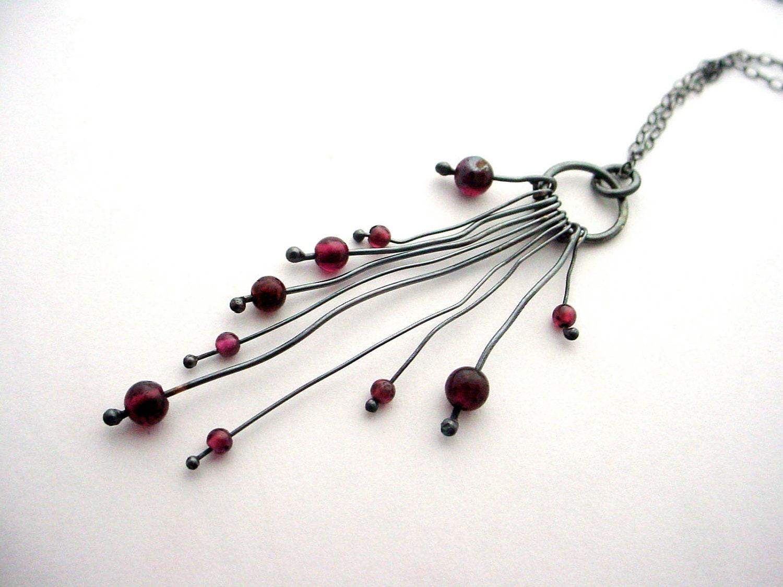 Garnet & Oxidized Silver Organic Necklace - merrittgade