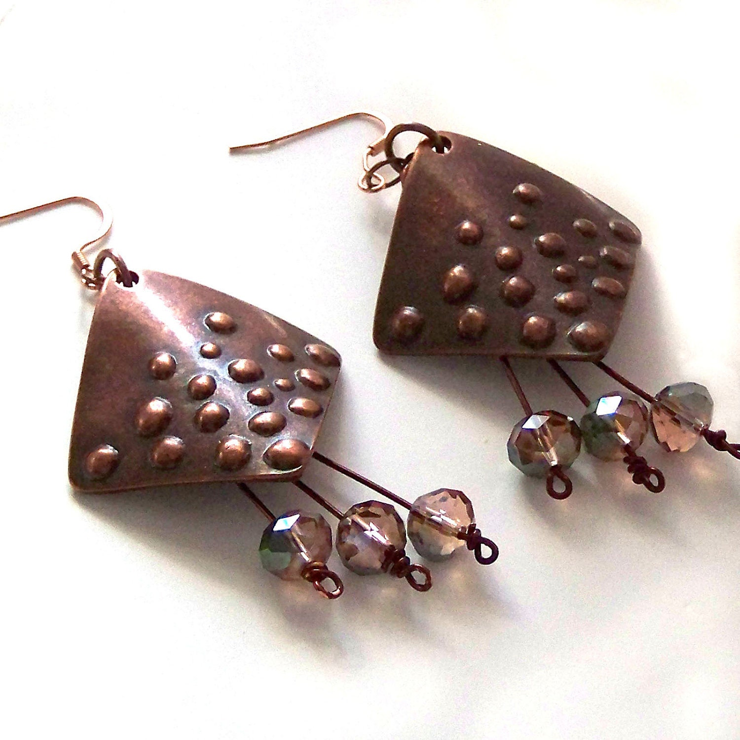 Crystal Copper Earrings - PeachWillow