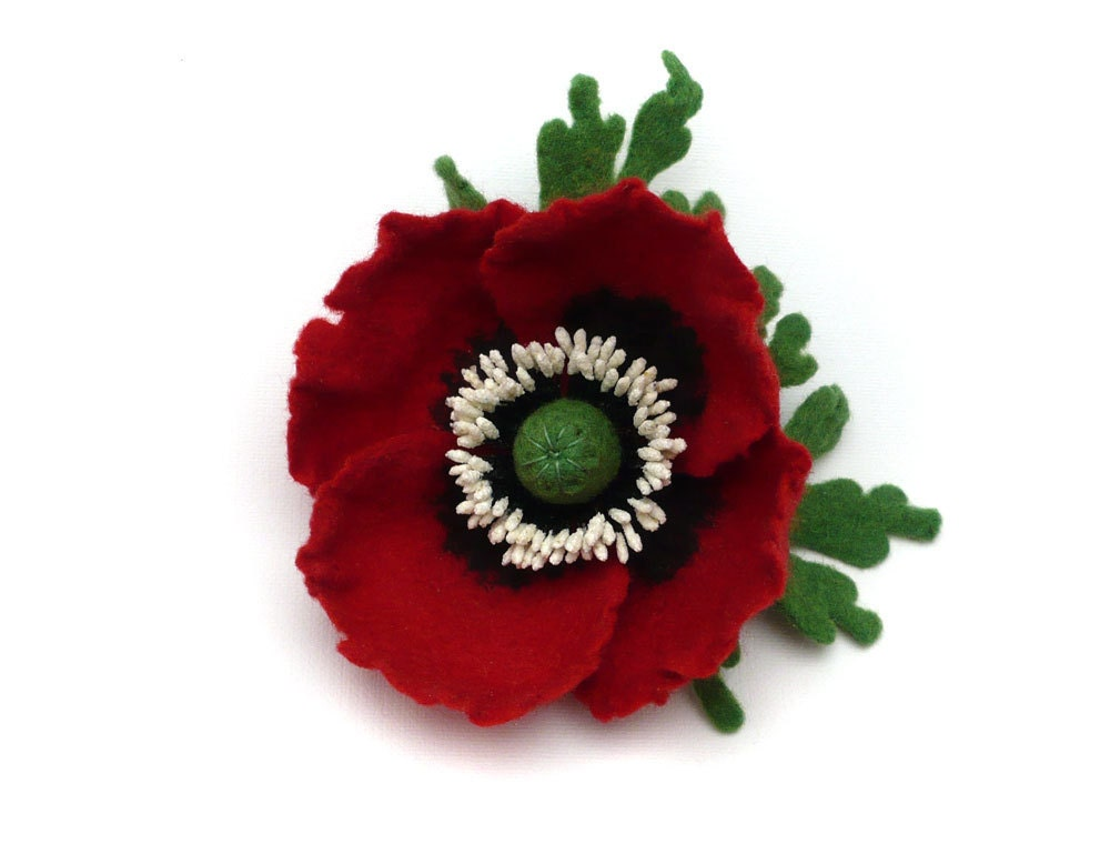 Felted Brooch Dark Red Poppy