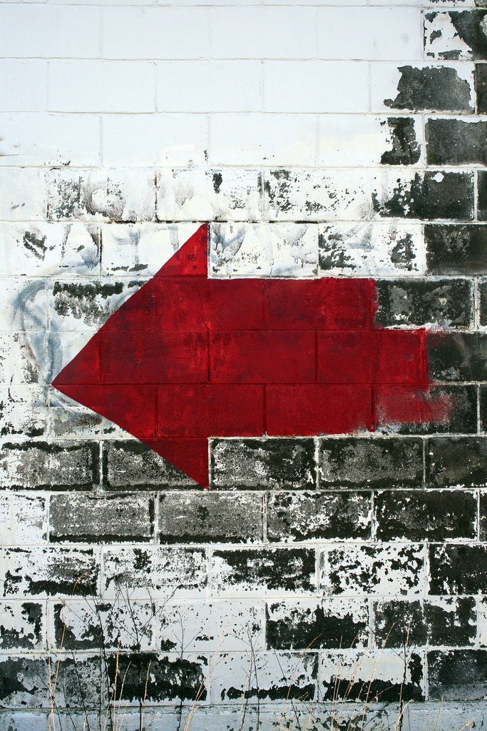 24x36 Fine Art Metal Mural with original Abstract Photo of large red arrow - jciverson