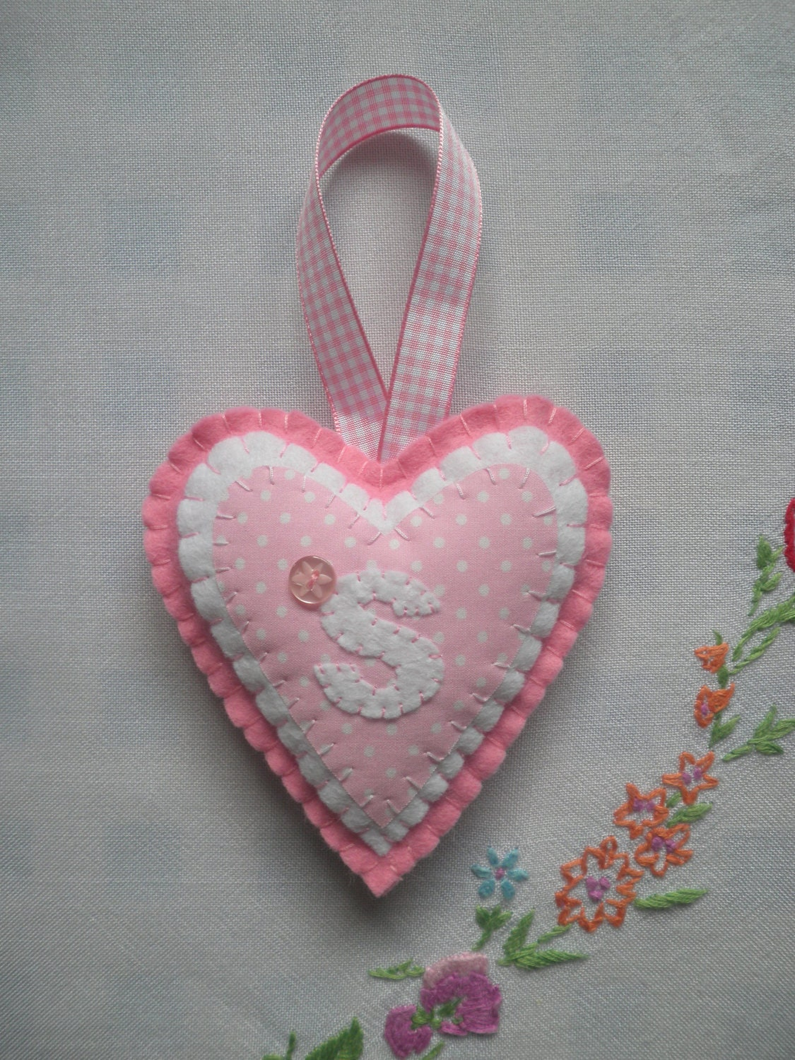 Personalised Gift - Handmade Pink Felt Heart with Initial