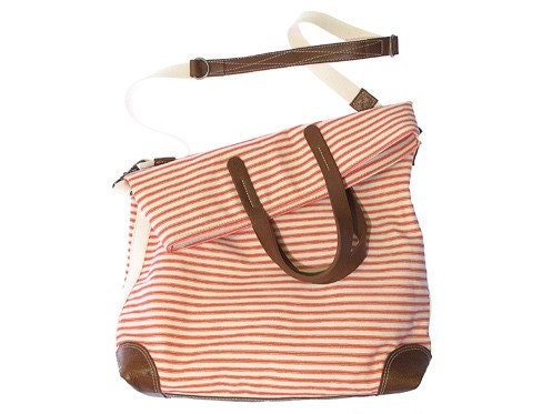 Workhorse bag in sweet cherry striped canvas with leather trim