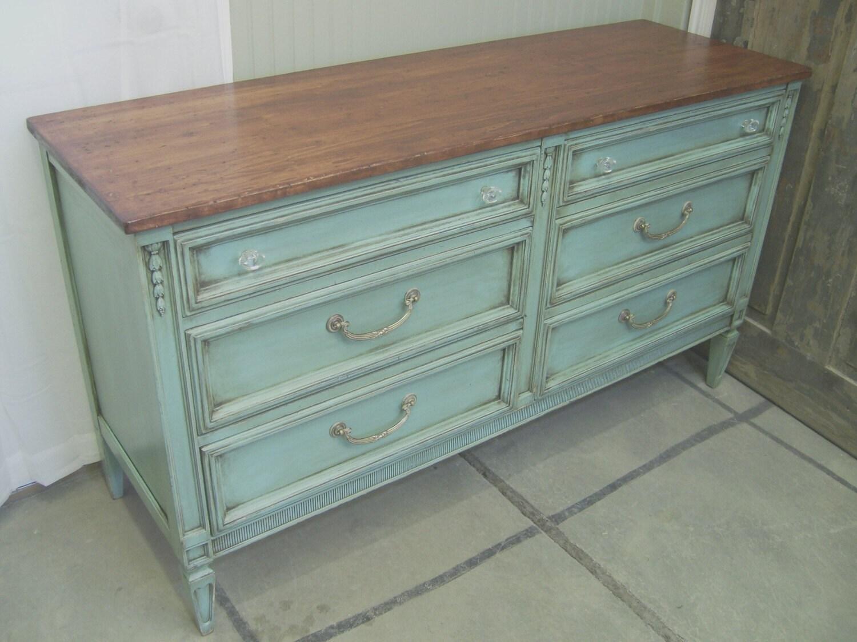 shabby aqua painted vintage dresser chest by. Black Bedroom Furniture Sets. Home Design Ideas