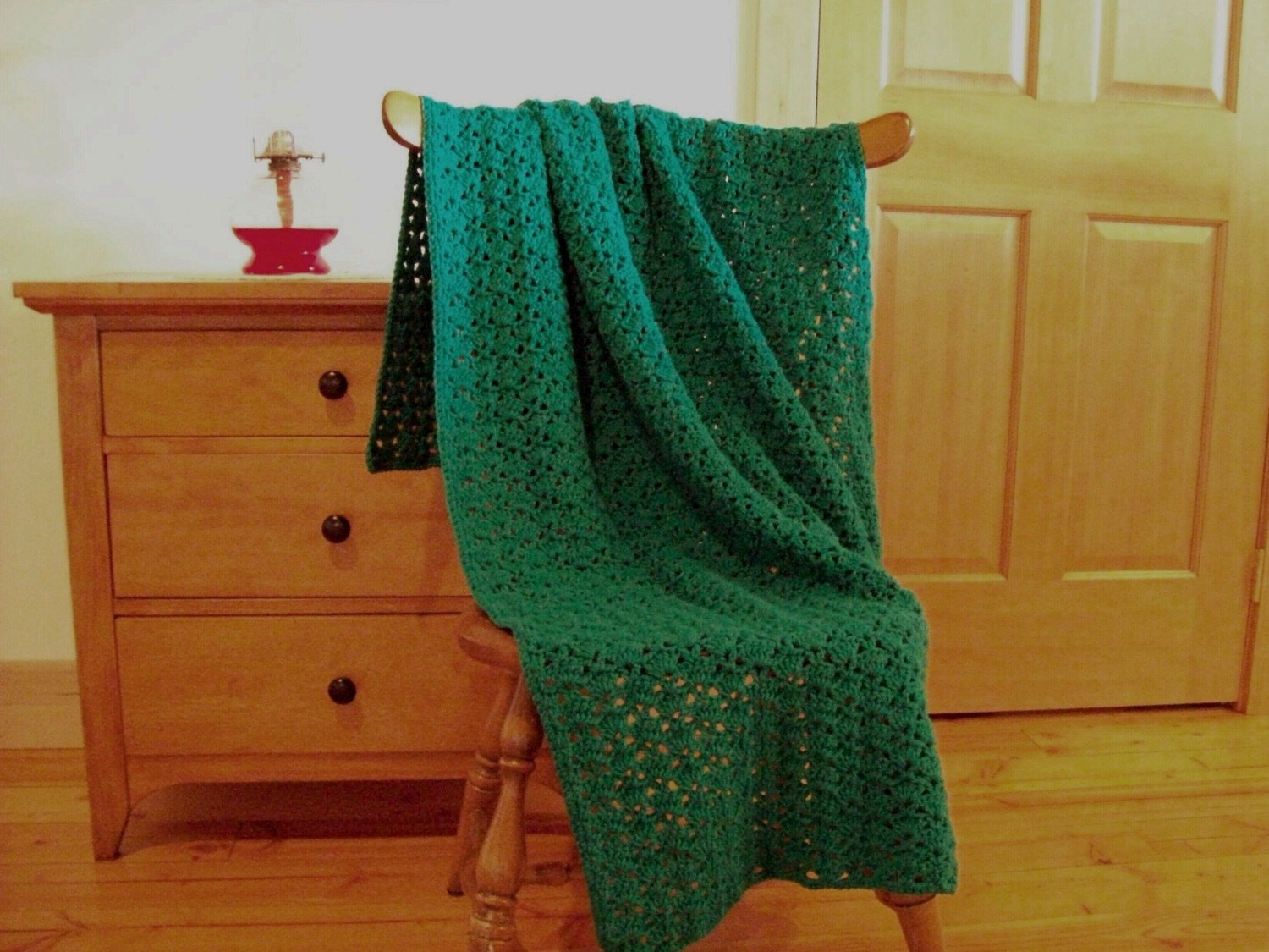 Items similar to throw blanket hand crocheted afghan - Emerald green throw blanket ...