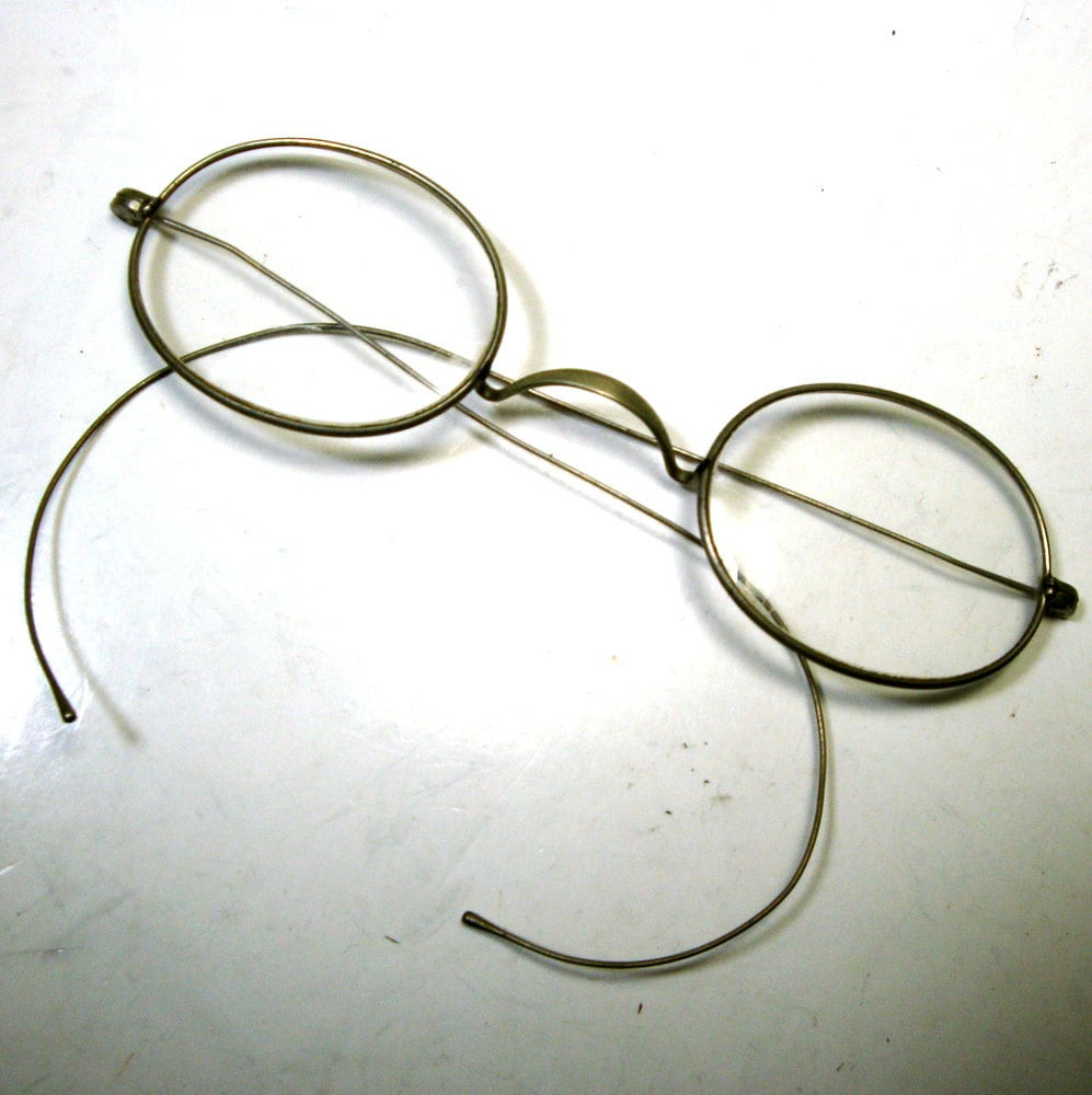 Glasses Frames Saddle Bridge : 1900s Cable Temple Eyeglasses Antique Oval by ...