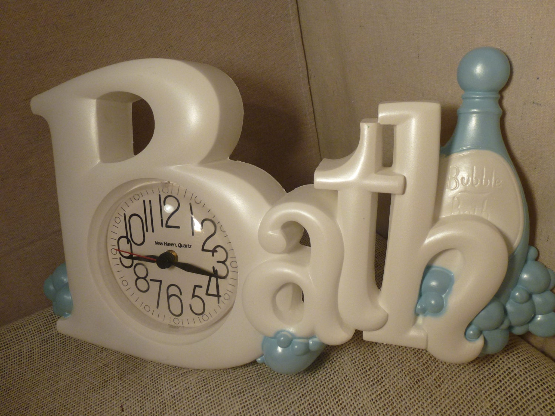 Bathroom Clock Bubble Bath Clock White Clock By Bluejeanjulie