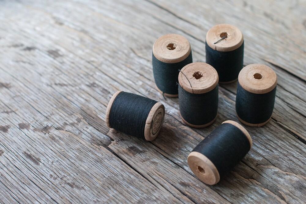 Vintage Wood Spools with Black Threads - Set of 6 - OldTimeStories