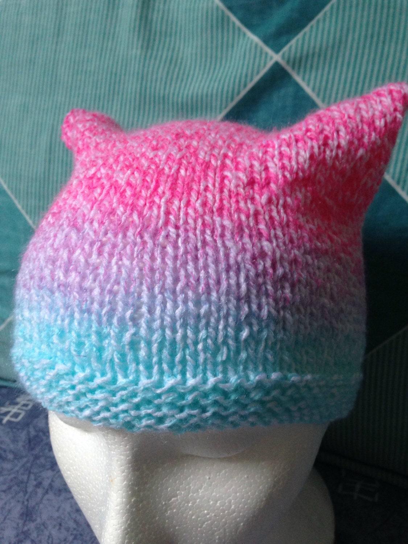 Pastel Cat Ears Hat Pastel Beanie Hat Knitted Ears Hat Yarn Knitted Hat Knit Beanie Hat Pink Purple Blue Hat Animal Ears Hat Knit Hat
