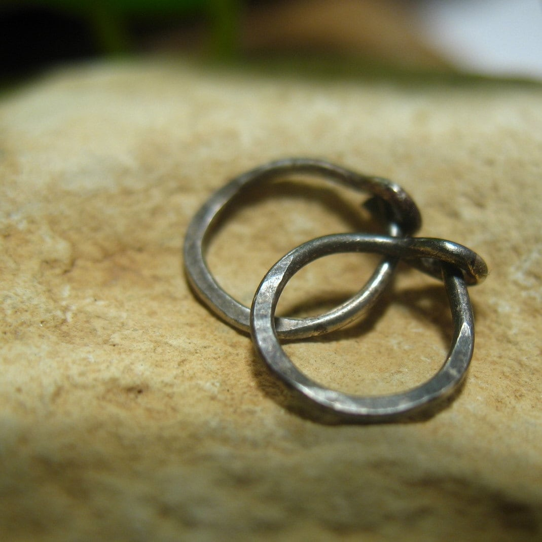 cartilage hoop earrings black hammered by mysticmoons on etsy