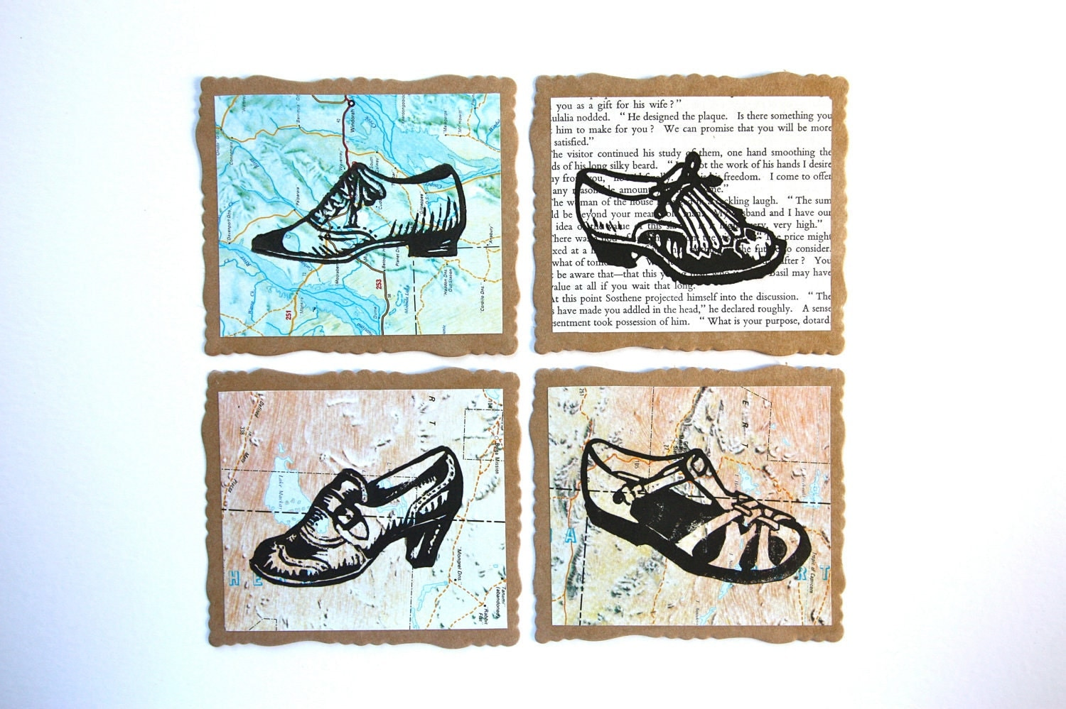1950s Shoe Collection Fancy Edged Note Cards - Pack of 4 - trees4thewood