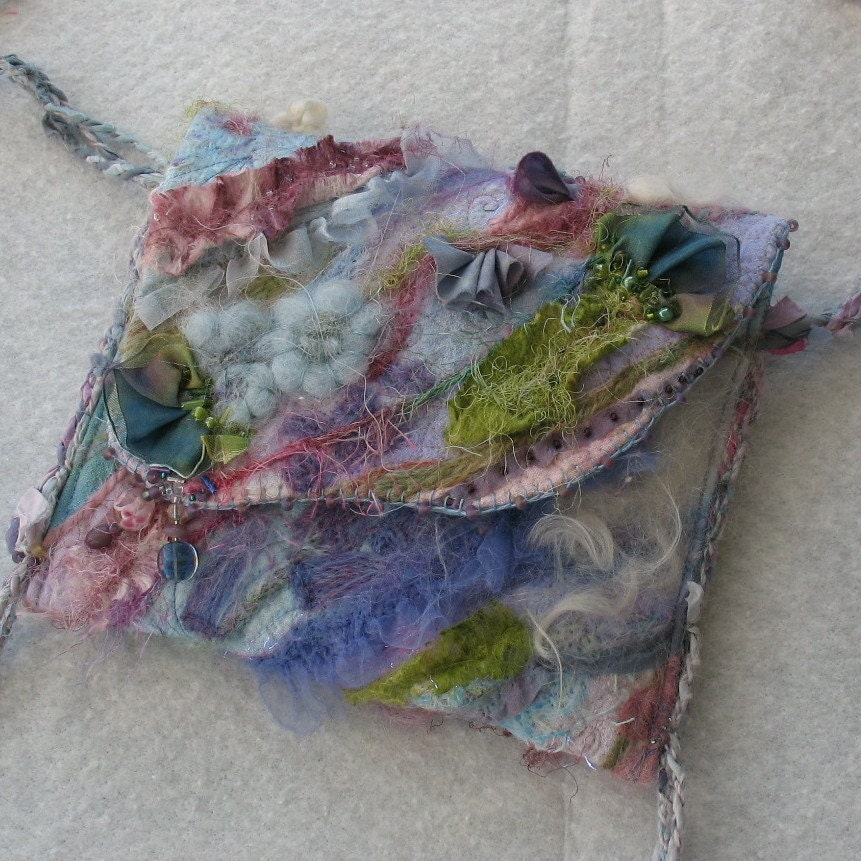 Felted Quilted Small Art Purse - KathyKinsella